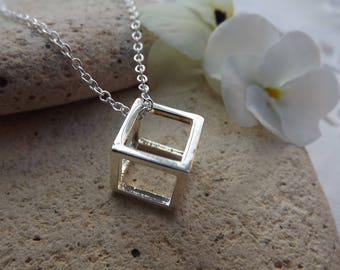 """Geometric 3D Cube Necklace. Silver Plate. 18"""" Length"""