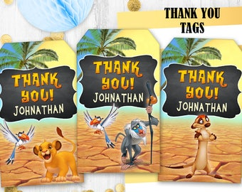 Lion the King Thank you tags Gift tags Printable digital tags Jungle gift tags