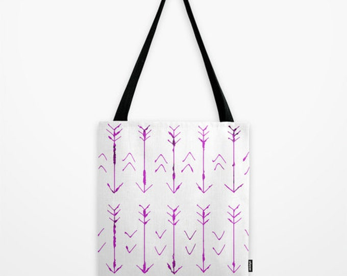 Arrow Tote Bag - Purple Hand Drawn Arrows - Book Bag - Grocery Bag - 3 Sizes - Made to Order