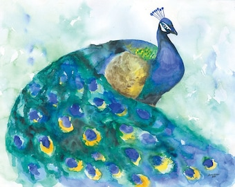 Peacock Watercolor Painting - 11 x 14 - Giclee Fine Art Wall Art - Blue Bird Painting