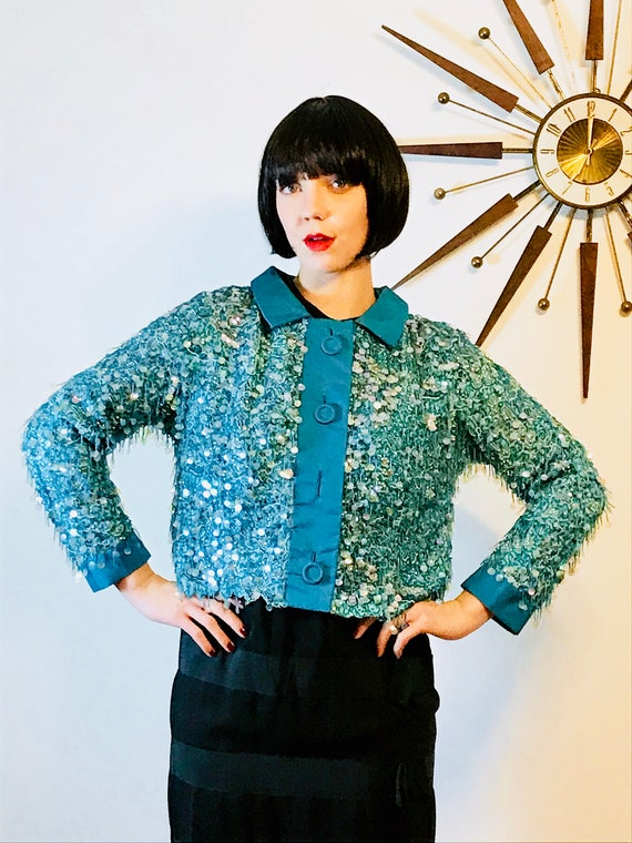 Fully beaded jacket, Vintage 60s jacket, Fancy Evening Jacket, Bright Aqua blue, 1960s short jacket, Beading Silk fringe, 50s cropped jacket
