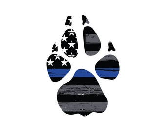 Thin Blue Line K9 Paw Print Vehicle Decal.  Vinyl Decal.  Law Enforcement Sticker.  Police Decal. K9