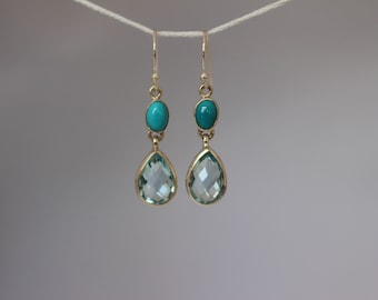 Turquoise with Sky Blue Briolette Drop Earrings