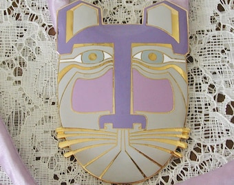 Laurel Burch Large Purple / Lavendar Cat Pendant Necklace.....Vintage Laurel Burch Miikio Cat Face Pendant Necklace