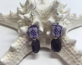 Hawiian Purple handmade earrings