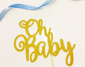 Oh Baby Cake Topper, Baby Shower Cake Topper, Hello World, Mommy to be Baby Shower Glittery Cake Topper