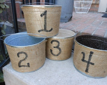 4 Buckets wrapped in Burlap painted with numbers 1-4 on 5 Qt BUCKETS and READY to ship