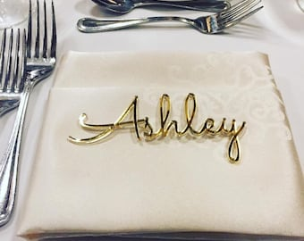 Personalized wedding place table cards Laser cut names Guest names Weddings place cards Laser cut name signs Place settings Bride and Groom