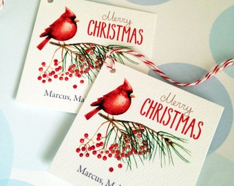 Christmas Tags, Personalized Christmas Tags, Custom Holiday Tags, Set of 20