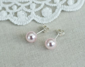 Bridal Pearl Earrings, Bridesmaids Earrings, Rosaline Light Rose Pearl Studs Earrings, Swarovski Pearls Earrings, Pink Flower Girl Earrings