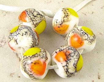 Handmade Lampwork Glass Bead Set of 6 Lemon Yellow Tangerine Orange Cream White 14x11mm Candy Corn