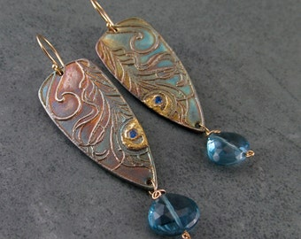 Peacock feather earrings, solid 14k gold, 22k gold London blue topaz and recycled fine silver earrings-OOAK