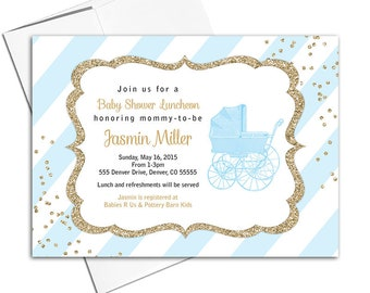 Boy baby shower invitation, gold and blue baby shower invites with stripes, vintage baby carriage - PRINTED - WLP00736
