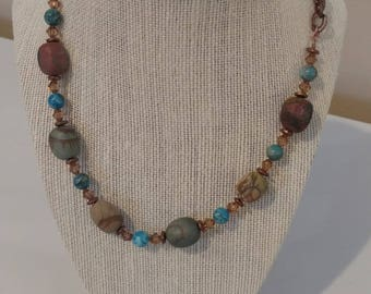 """Beautiful 26"""" Necklace Red Creek Jasper, Swarovski Beads, and Blue Stones Antique Copper components with matching bracelet!"""