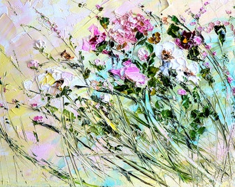 Small Paintings on Canvas Art for Nursery Abstract Flower Painting Palette Knife Art Oil Painting Roses Oil Painting Landscape Beautiful