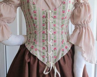 DDNJ Choose Fabrics Reversible Demi Corset Style Bodice Chemise Skirt 3pc Plus Custom Made ANY Size Renaissance Pirate Costume Steampunk