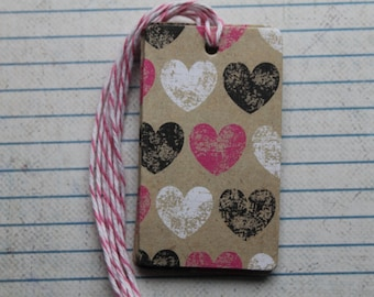 14 Black, White and Pink Hearts on rectangle shaped tags for Valentine's Day and more