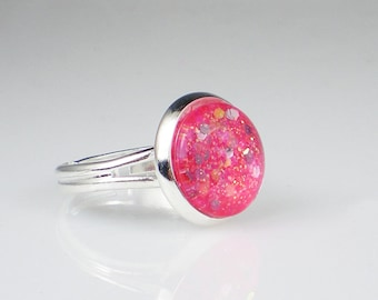 Bright Pink Glitter Nail Polish Ring Sally Hansen Twinkled Pink Sparkle Adjustable Ring Jewelry