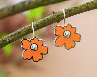Silver enamel orange flower earrings, kinetic sculpture