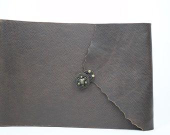 OOAK-große Leder-Foto-Album mit schwarzem Papier - robuste braun - groß