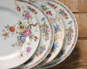 Vintage Mismatched Dinner Plates Set of 4, Dinner Plates for Weddings,  Replacement China, Bridal Tea Party, Baby Shower Bridesmaid Gift
