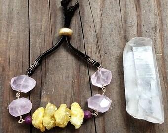 Rose Quartz Bracelet / Saffron Druzy Bracelet / Genuine Ruby / Bohemian Bracelet / Suede Leather Bracelet / Rustic