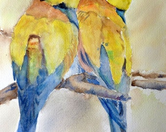 watercolor two nests, bird very colorful