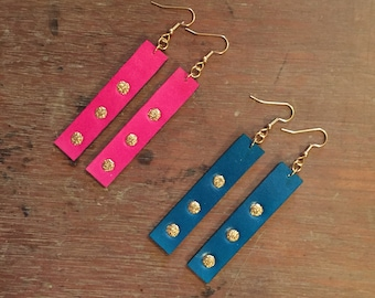 Leather Drop Earrings with Gold Glitter Accents