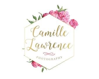 Listing Upgrade Logo Design Branding Package Premade Graphics Custom Text Gold Pink Floral