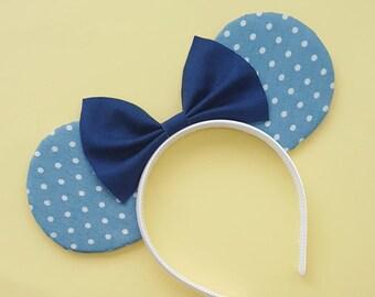 Denim Polkadot Mouse Ears