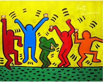Keith Haring, 21st Birthday Beer Gift, Dorm Room Beer Poster, Beer Drinker Present, Man Cave Decor, Retirement Gift for Man, Art for Men