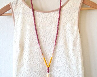 SALE Beaded Tassel Necklace, Yellow, Red, Light Pink, Sunset, Wooden Beads, Yellow Tassel