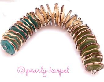 Light blue,ivory, green disc,  lampwork beads, lampwork glass beads, glass beads, lampwork beads sra, handemade lampwork, glass beads, MTO