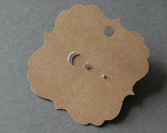 Mix Trio Set #5 Silver - Tiny Crescent Moon 7mm Star 5mm Dot 2mm Stud Earrings, Sterling Silver -Single stud earrings set