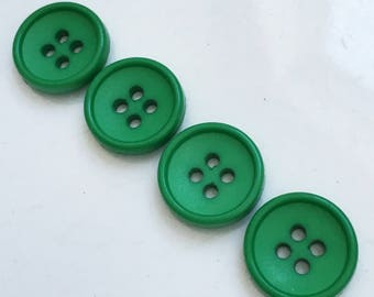shamrock green matte slightly cupped eco friendly buttons--matching lot of 4