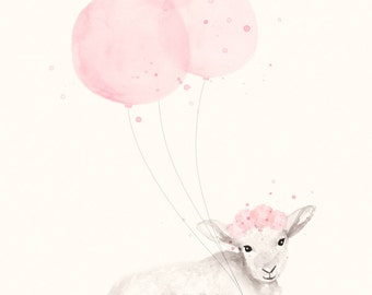 8x10 / A4 Print Baby Girl Nursery, Light Pink Shabby Chic Nursery Decor, Watercolour Illustration of Little Lamb and Balloons