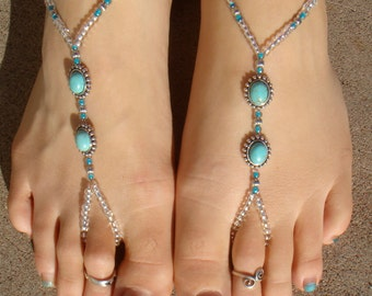 Silver and Real Turquoise Barefoot Sandals, Slave Anklet, foot thong, ankle bracelet with toe ring