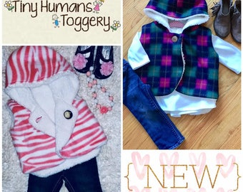 NEW {ABBIE} REVERSIBLE Hooded Fleece/Sherpa Vest - Size 6 month through 6 years -