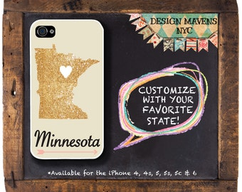 Minnesota iPhone Case, Personalized State Love iPhone Case, iPhone 4, 4s, iPhone 5, 5s, i5c, iPhone 6, 6s, 6 Plus, iPhone 7, 7 Plus