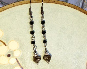 Jet Black Beaded Chain with Pewter Ball Drop Earrings