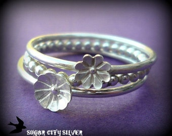 Silver Flower Blossom Stacking Ring Set