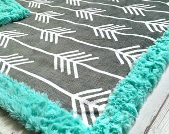 Arrow Baby Blanket - Designer Minky White Arrows on Grey - Teal