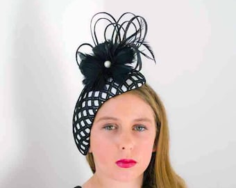 vintage style black and white head hugger headpiece fascinator, spring races, Derby Day