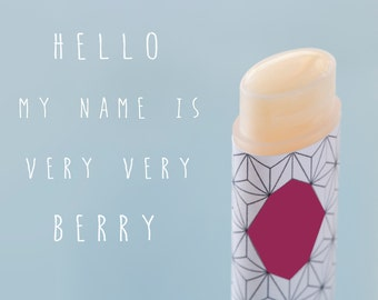 Berry Natural Lip Balm, Very Very Berry, Vegan, fruit , one oval tube