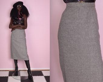 90s Black and White Gingham Skirt/ 28.5 Waist/ 1990s