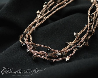 Crochet Necklace with Crystals