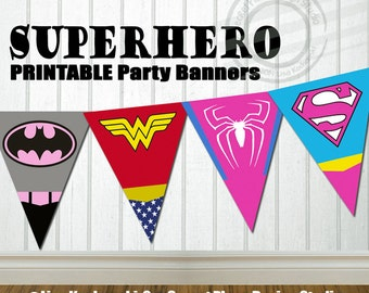 INSTANT DOWNLOAD Girl Superhero Party Banner Super hero Party Banner Super hero Birthday Banner Superhero Birthday Banner Superhero Baby