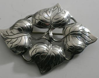 Kalo Chicago Arts & Crafts Hand wrought Sterling Silver Leaf Brooch Pin #065