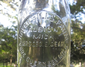 MI Haven Hills Farm Albion Michigan Half Pint Milk Bottle