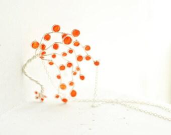 Orange Necklace, Tree Jewelry, 4th Anniversary Gift, Fruit Citrus Pendant